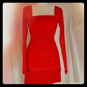 BARDOT Red Square Neck Mini Dress XS
